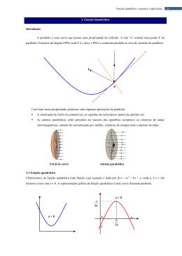 3. Função Quadrática Introdução A parábola é uma curva que