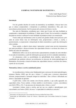O JORNAL NO ENSINO DE MATEMÁTICA
