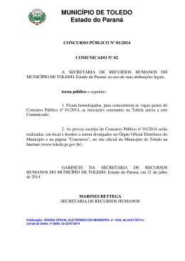 MUNICÍPIO DE TOLEDO Estado do Paraná