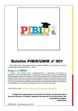 Boletim PIBID/UNIR nº 001