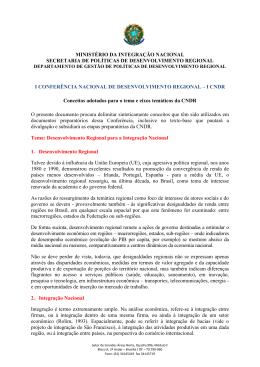 Conceitos adotados para o tema e eixos temáticos da CNDR