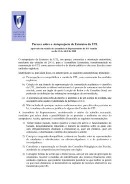 Parecer sobre o Anteprojecto de Estatutos da UTL
