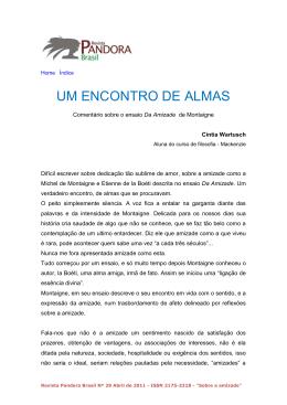 ENCONTRO DE ALMAS, Comentário sobre o ensaio Da Amizade