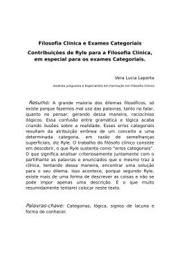 Filosofia Clínica e Exames Categoriais Contribuições de Ryle para