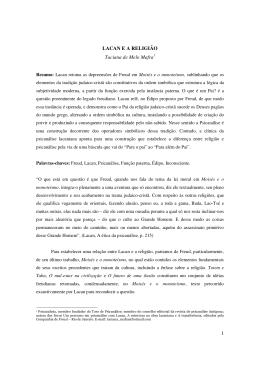 1 LACAN E A RELIGIÃO Taciana de Melo Mafra