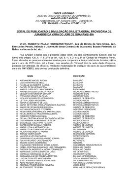 edital de publicação e divulgação da lista geral provisória de