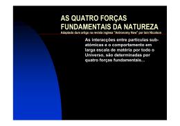 AS QUATRO FORÇAS FUNDAMENTAIS DA NATUREZA