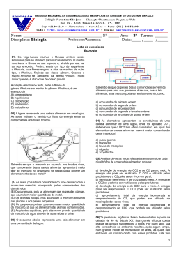 Biologia - Lista de Exercícios (ecologia)