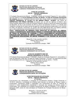 estado do rio de janeiro prefeitura municipal de macaé comissão