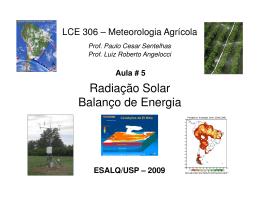 Radiação Solar - Balanço de Energia