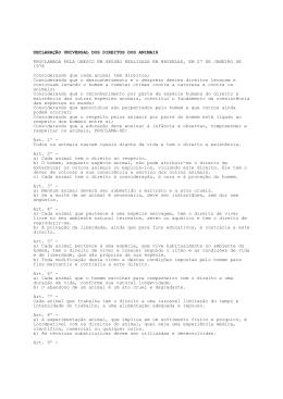 Declaração dos Direitos dos Animais - Crmv-ce