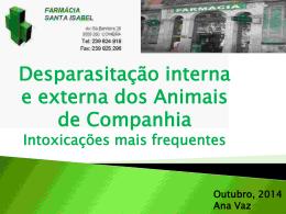 Desparasitação interna e externa dos Animais de