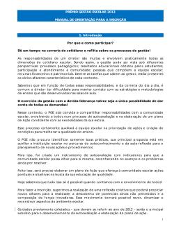Manual de orientação para inscrição ao Prêmio Gestão Escolar 2013.