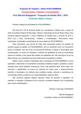 """Proposta de Trabalho - Reitor IFSULDEMINAS """"Compromisso"""