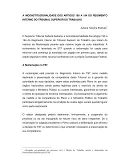 A INCONSTITUCIONALIDADE DOS ARTIGOS 190 A 194 DO