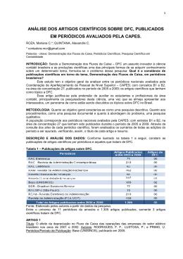 análise dos artigos científicos sobre dfc, publicados em