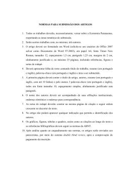 NORMAS PARA SUBMISSÃO DOS ARTIGOS 1. Todos os trabalhos
