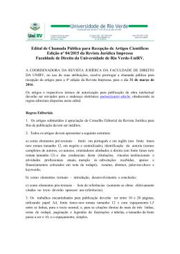 Edital de Chamada Pública para Recepção de Artigos Científicos