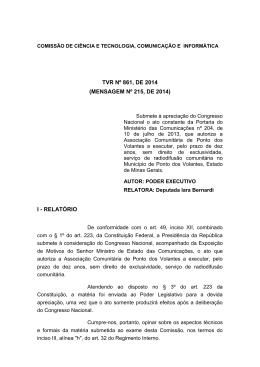 TVR Nº 861, DE 2014 (MENSAGEM Nº 215, DE 2014) I