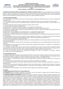 GOVERNO DO ESTADO DE GOIÁS SECRETARIA DE