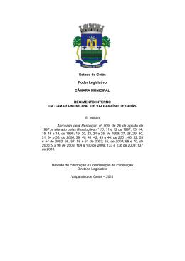 Estado de Goiás Poder Legislativo CÂMARA
