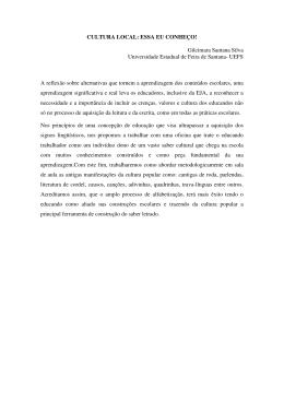 CULTURA LOCAL: ESSA EU CONHEÇO! Gilcimara Santana Silva