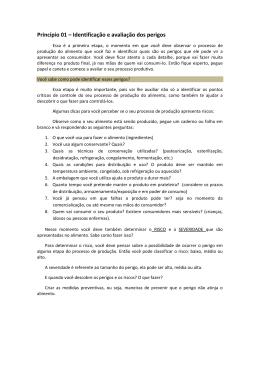 Princípio 01 – Identificação e avaliação dos perigos