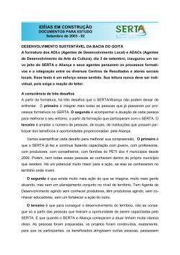 3.17. Desenvolvimento Territorial na Bacia do Goitá