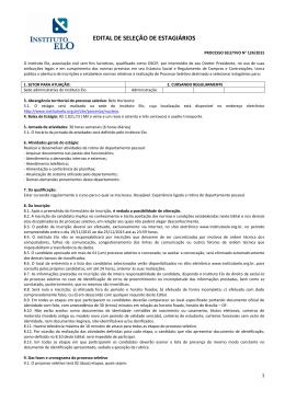 EDITAL DE SELEÇÃO DE ESTAGIÁRIOS
