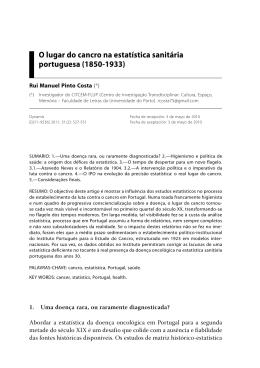 O lugar do cancro na estatística sanitária portuguesa (1850