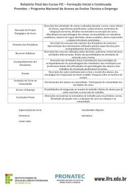 Relatório final de cursos