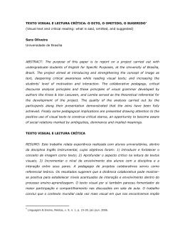 Texto visual e leitura crítica: o dito, o omitido, o sugerido*