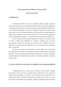 """""""O Ensino das Práticas Jurídicas nos Cursos de Direito"""