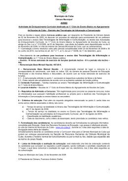 1 Município de Cuba AVISO para leccionar o ensino das