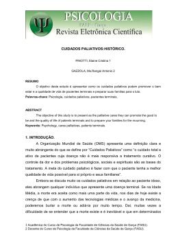 CUIDADOS PALIATIVOS: HISTÓRICO PINOTTI, Elaine Cristina