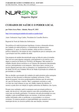 CUIDADOS DE SAÚDE E O PODER LOCAL - 03-07-2015