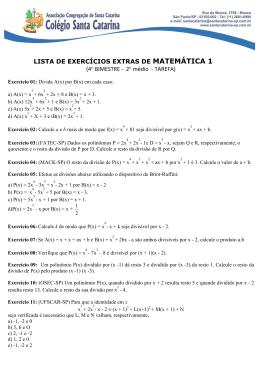 LISTA DE EXERCÍCIOS EXTRAS DE MATEMÁTICA 1 (4º