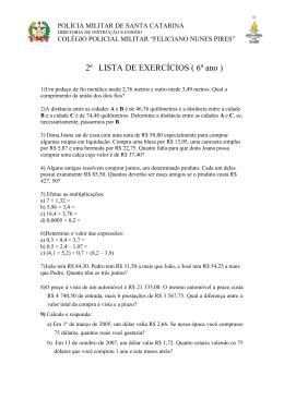 2ª LISTA DE EXERCÍCIOS ( 6º ano )