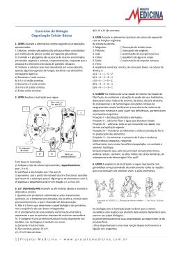 Exercícios de Biologia Organização Celular Básica