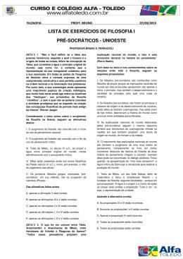 lista de exercícios de filosofia i pré-socráticos - unioeste