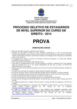PROVA APLICADA DIREITO - 2014 - Justiça Federal do Rio Grande