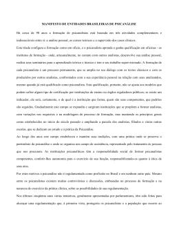 MANIFESTO DE ENTIDADES BRASILEIRAS DE PSICANÁLISE Há