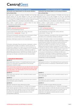 Diferenças nas Instruções da Declaração Periódica IVA