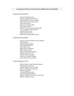 Cronograma tentativo de entrevistas dos candidatos de fora de