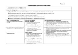 Controlos atenuantes recomendados 1. SELEÇÃO DOS