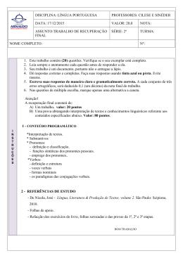 1. Este trabalho contém (20) questões. Verifique se o seu exemplar