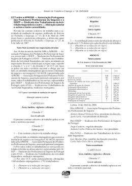 1530 CCT entre a APROSE — Associação Portuguesa dos