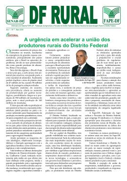 A urgência em acelerar a união dos produtores rurais do - Senar-DF