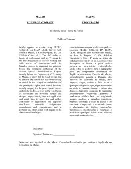 MACAO POWER OF ATTORNEY MACAU PROCURAÇÃO