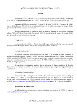 Aviso publicado no Diário Oficial da União em 11/02/2005